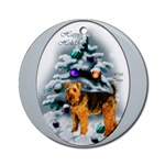 Welsh Terrier Christmas ornaments in round or oval shaped.