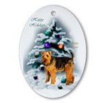 Welsh Terrier Christmas ornament is sure to be a favorite on your tree each year.