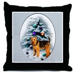 Welsh Terrier Christmas holiday throw pillow.