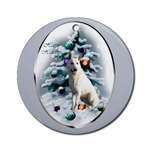 White German Shepherd Christmas ornaments in round or oval shaped.