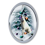This White German Shepherd art ornament will be a favorite on your tree, or use as an elegant gifts topper.