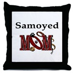 samoyed dog mom throw pillow