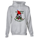 Siberian Husky Christmas holiday wear hoodie.