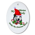Siberian Husky oval Christmas ornament.
