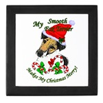 Christmas gifts for smooth fox terrier owners, keepsake tile boxes, mugs, steins, magnets, and other unique gifts for the holidays