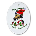 Smooth fox terrier christmas ornaments, Christmas Merry oval ornament