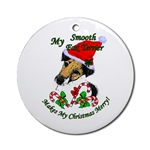 smooth fox terrier christmas ornaments, round ornament