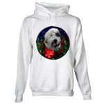Snuggle up in our warm and cozy Old English Sheepdog Christmas art hoodies