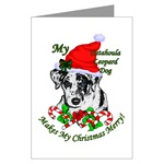 catahoula leopard dog christmas cards in singles, packs of 10 or 20