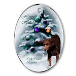 curly coated christmas ornaments in round or oval shaped
