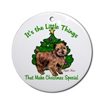 Norfolk Terrier Christmas ornaments in round or oval shaped