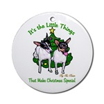 toy fox terrier christmas ornaments, round ornament