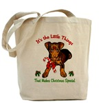 miniature pinscher christms tote bag