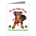 miniature pinscher christmas cards, single card or 10 or 20 packs