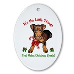 miniature pinscher christms ornaments, oval ornament