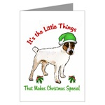 parson russell terrier christmas cards, single card or multi packs