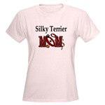 Silky Terrier Mom t-shirts in several choices of styles and colors