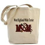 west highland white terrier dog mom tote bad