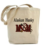 alaskan husky mom tote bag