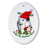 poodle christmas ornament oval shaped