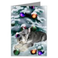 miniature schnauzer christmas cards in single card or multi packs, a lovely way to send your holiday greetings.