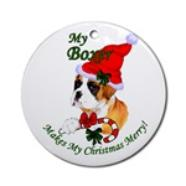 boxer christmas round ornament