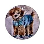 poodle lovers christmas ornaments, round oranment with apricot poodle in sweater