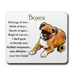 Boxer Heritage of Love puppy art and verse mousepad