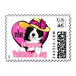 Border Collie Valentine's Day Postage Stamps