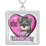 Miniature Schnauzer Valentines Day Jewelry Necklace