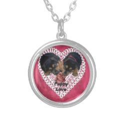 Rottweiler puppy valentine's day necklace jewelry